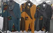Womens Tunic Top Ladies Italian Lagenlook Abstract Patchwork Scarf Long Sleeves