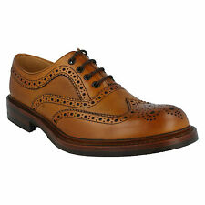 EDWARD MENS LOAKE TAN BURNISHED CALF LEATHER LACE UP G FIT BROGUE FORMAL SHOES