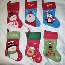 PERSONALISED EMBROIDERED CHRISTMAS STOCKING- PENGUIN SANTA REINDEER SNOWMAN