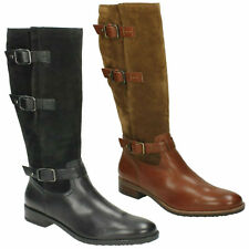 a04a670ca59 TAMRO MARINA LADIES CLARKS ZIP UP BUCKLE DETAIL KNEE HIGH HEELED RIDING  BOOTS