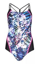 MARKS & SPENCER'S SECRET SLIMMING CRISS CROSS BLACK MIX SWIMSUIT SIZE 8  NEW