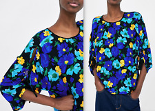 ZARA BEAUTIFUL RELAXED FIT FLORAL PRINT BLOUSE TOP SIZE S AND M NEW
