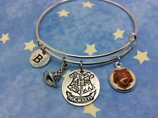Harry Potter Bangle with initial, Slytherin, Gryffindor, Hufflepuff, Ravenclaw