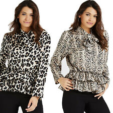 Women Ladies Leopard Snake Animal Tie Neck Frill Hem Pussy Bow Blouse Shirt Tops
