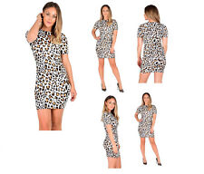 NEW WOMEN'S LADIES LEOPARD Print Short Sleeve Mini Dress size 8-22
