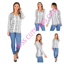 WOMENS LADIES CASUAL REPTILE SNAKE PRINT LONG SLEEVE T SHIRT TOP PLUS SIZE 8-22