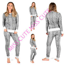 NEW WOMENS TRACKSUIT LADIES SNAKE PRINT LOUNGE SET FLEECE LINED TOP& BOTTOM SUIT