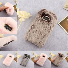 Soft Furry Faux Fur Phone Case Crystal Cover for Samsung J6 Note 9 S9 S8 A7 2017