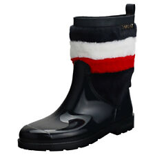 Tommy Hilfiger Corporate Faux Fur Rain Womens Midnight Navy Fur & Rubber Boots