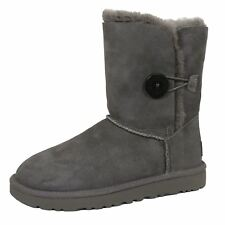 UGG BAILEY BUTTON II WOMENS GREY TWINFACE SHEEPSKIN SUEDE BOOTS