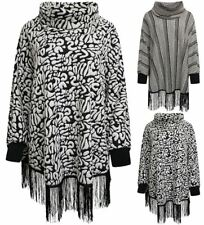 Womens Ribbed Cuff Polo Neck Poncho Ladies Plus Size Long Sleeves Warm Jumper