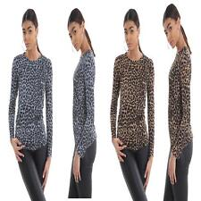 Womens Leopard Print Round Neck Top Ladies Long Sleeve Party Wear Shirt Blouse