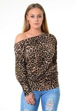 NEW WOMENS LADIES LONG SLEEVE OFF SHOULDER LEOPARD PRINT BATWING TOP SIZE 8-26