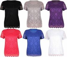 Womens Floral Lace Blouse Top Ladies Short Sleeve Round Neck Party Wear Shirt