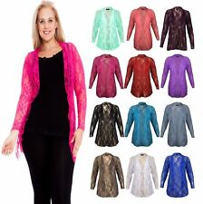 Ladies Floral Lace Waterfall Cardigan Womens Fancy Open Front Long Sleeve Top