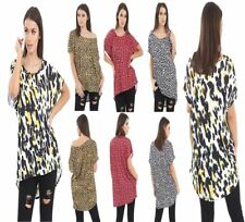 WOMEN LADIES SHORT SLEEVE BAGGY OVERSIZED BATWING DIP HILO HEM LEOPARD PRINT TOP