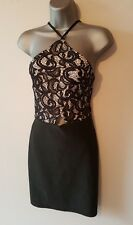 BNWT New LIPSY Ariana Grande Black Pink Lace Halter Top Stretch Dress 12 14 16