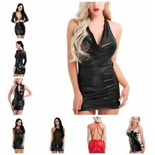 Women's Wet Look Fancy Backless Sleeveless Deep-V Bodycon Party Mini Club Dress