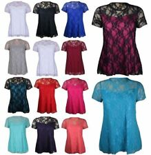 Ladies Short Sleeve Floral Lace Print Shirt Women Plus Size Round Neck Tunic Top