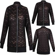 Ladies Floral Lace Zip Up Stretch Collared Bomber Jacket Womens Plus Size Top