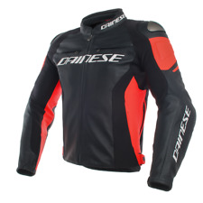 DAINESE GIACCA IN PELLE RACING 3 NERO ROSSO FLUO