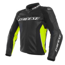DAINESE GIACCA IN PELLE RACING 3 NERO GIALLO FLUO