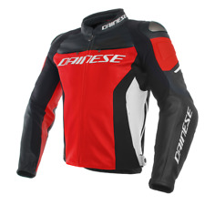 DAINESE GIACCA IN PELLE RACING 3 ROSSO NERO BIANCO