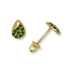 Pear Shape 14K Yellow/White Gold Green Emerald Created Diamond 0.18CT Earrings