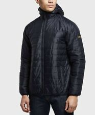 BARBOUR INTERNATIONAL LEVEL QUILT PADDED HOODED NAVY JACKET - S & XL RRP £130
