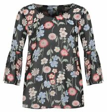 Womens Floral Printed Sheer Chiffon Top Ladies Bell Sleeve Party Wear Blouse