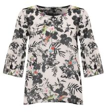 Womens Printed Floral Sheer Chiffon Top Ladies Long Sleeve Party Wear Blouse Top