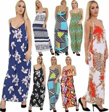 Womens Printed Strappy Camisole Maxi Dress Ladies Fancy Sleeveless Long Dress