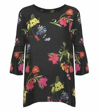 Womens Floral Printed Chiffon Top Ladies Plus Size Bell Sleeve Flared Blouse Top