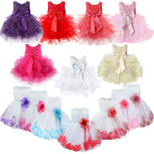 Flower Girls Bridesmaid Dress Wedding Birthday Christening Party Bowknot Gown