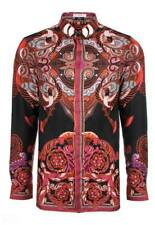Versace Collection Batik Print Silk Men Shirt Black/Red Camicia Seta Uomo
