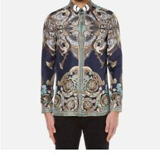 Versace Collection Men Print Silk Shirt Navy Camicia Uomo Seta Size 40 41 43 44
