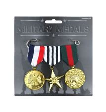 Military Hero Medals Soldier Army War Pack of 3 Adult Fancy Dress Accessories
