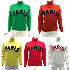 Womens Ladies Paris Slogan Polo Roll Neck Fine Knitted Jumper Fashion Top