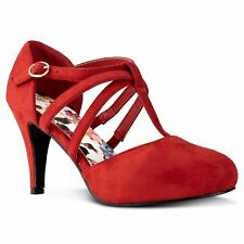 RF ROOM OF FASHION Coco-01 D'orsay Mary Jane T-strap Dress Pumps in Red Suede