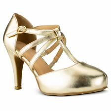 RF ROOM OF FASHION Coco-01 D'orsay Mary Jane T-strap Dress Pumps in Light Gold