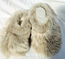 PERUVIAN ALPACA FUR SLIPPERS *  PEARL GREY 4 sizes available