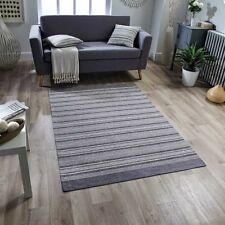 Washable Pacific 126X STRIPED Soft Grey Anti-slip Kitchen Rug Runner Door Mats