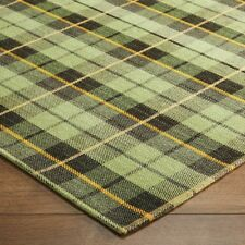 Cottage 11G CHECKED TARTAN GREEN WashableAnti slip Kitchen Rug Runner Door Mat