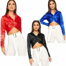 Womens Twist Front Satin Cropped Shirt Ladies Fancy Long Sleeve Button Crop Top