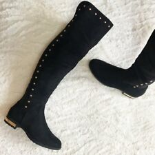BLACK FLAT SUEDE OVER THE KNEE BOOTS UK SIZE 8 BNIB SUEDE THIGH HIGH NEW STUDDED