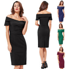 Dress Evening Wiggle Cocktail Pencil Retro Off Lady Vintage Party Bodycon Short