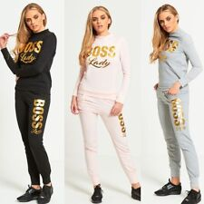 WOMENS LADIES BOSS LADY GOLD FOIL PRINT TOP & BOTTOM SET TRACKSUIT LOUNGEWEAR
