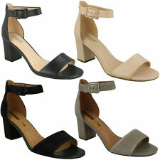 90df1dbe223 DEVA MAE LADIES CLARKS LEATHER OPEN TOE ANKLE STRAP BUCKLE HEELED SANDALS  SIZE