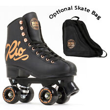 Rio Roller Quad Roller Skates Rose Black - Optional Skate Bag