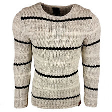 Subliminal Mode - Pull homme col rond rayer - Tricot grosse maille - Col a ras